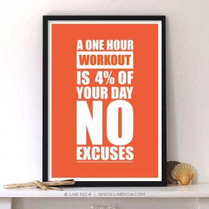 A one hour workout is 4 of your day no excuses, Motivating Gym quote poster by Lab No. 4
