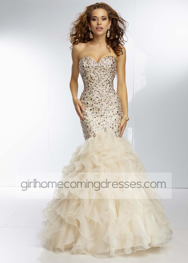 Champagne Strapless Beaded Organza Ruffled Mermaid Evening Gown $239