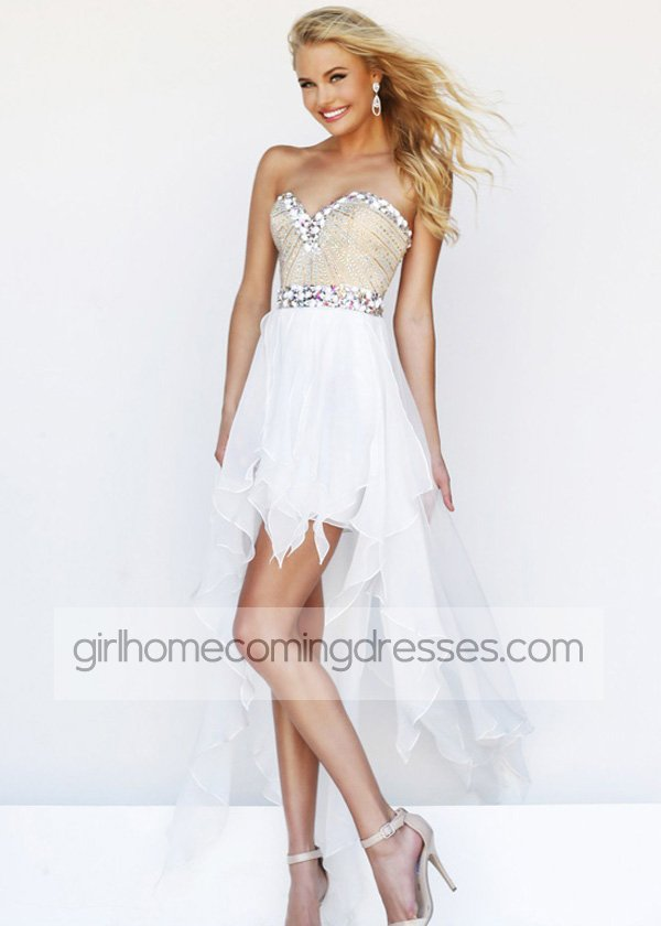 White Strapless Beaded Chiffon High Low Prom Dress
