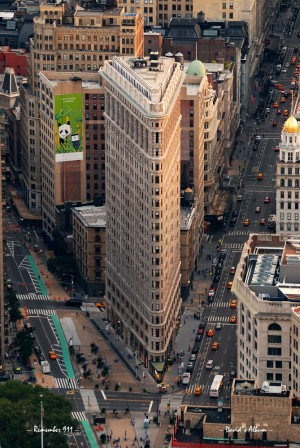 New York City Flatiron Building aerial view in Manhattan