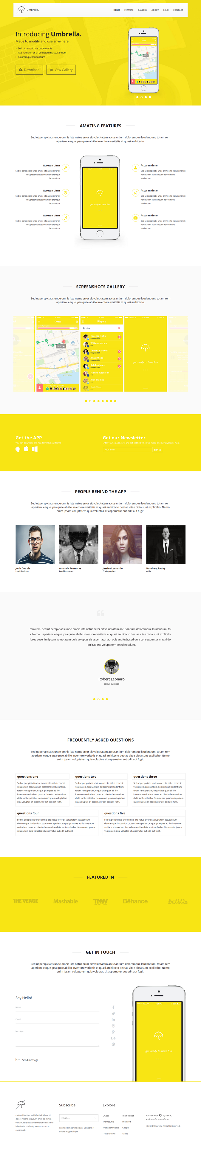 Umbrella is a clean and modern Landing Page Template for Mobile App. Built with Bootstrap 3.W ...