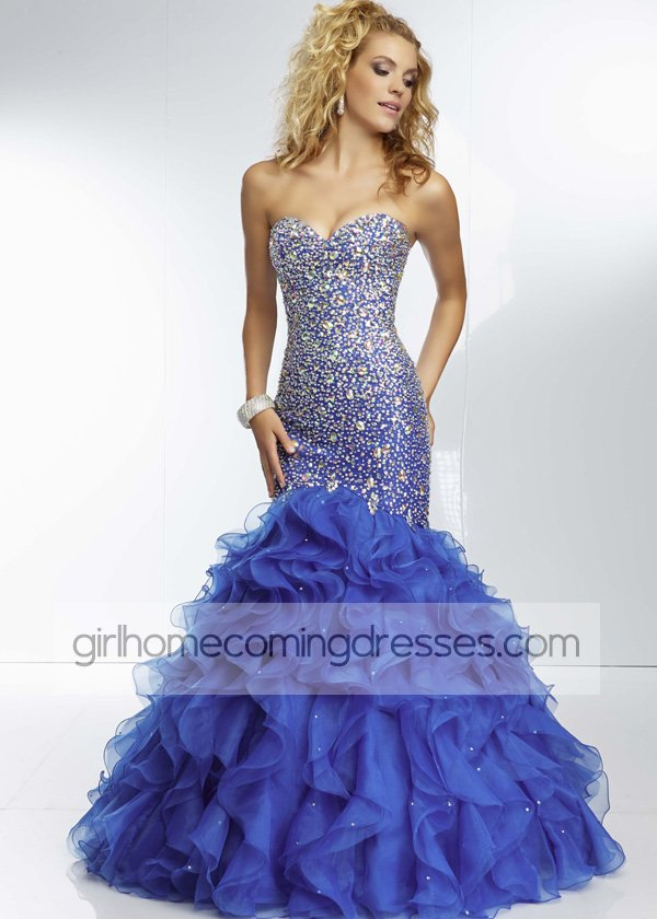 Royal Strapless Sparkly Beaded Ruffled Mermaid Long Prom Dress $239