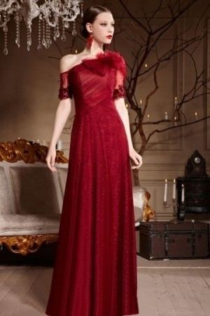 Beautiful Red Tone Flower Tulle One Shoulder Floor Length Formal Dress [XHC30632]- AU$           ...