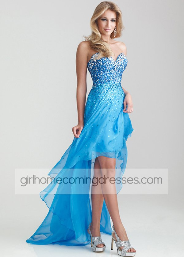 Blue Strapless Sparkly Sequined High Front Low Back Prom Dress