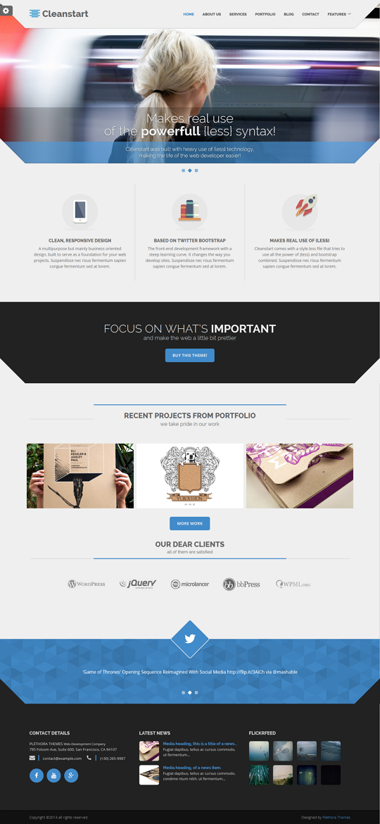 Cleanstart is a multipurpose but mainly business oriented design based on fine typography and la ...