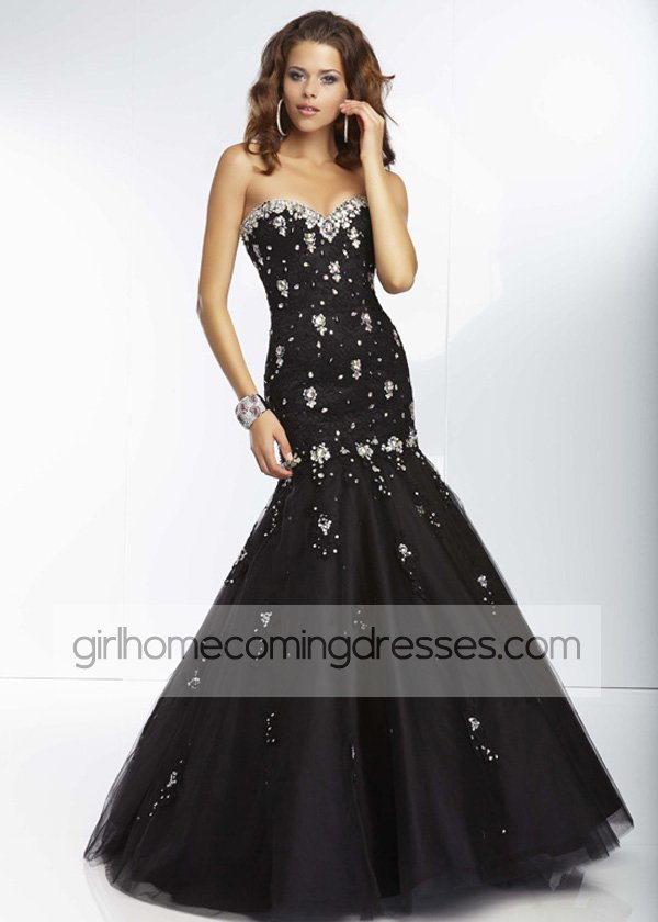 Black Strapless Beaded Lace Tulle Skirt Mermaid Gown   $249