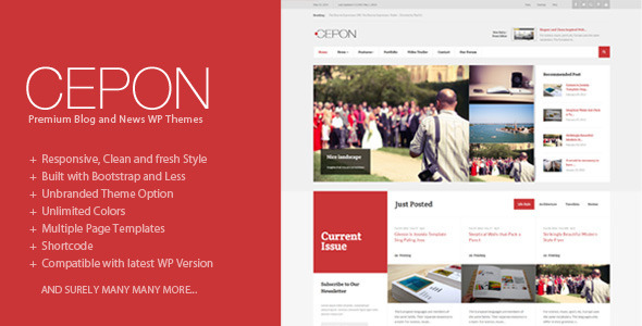 As a content rich magazine and news templates, Cepon has been designed to have a clear typograph ...