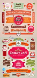 Colorful vector retro label template designs