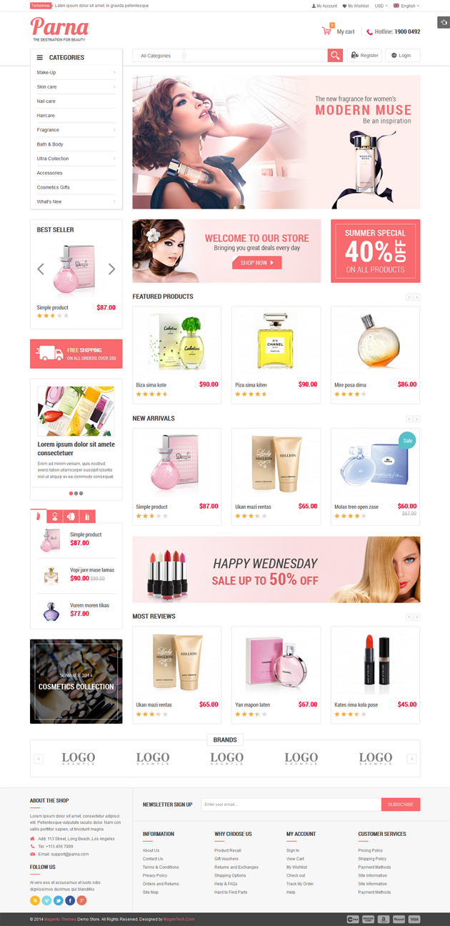 Parna is an elegant cosmetic Magento theme with fully responsive layout  It comes with a very sl ...