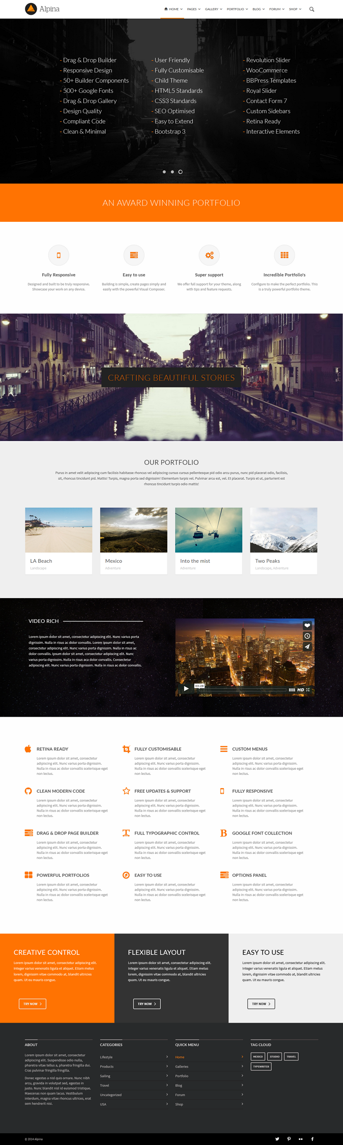 Alpina is a creative Multipurpose WordPress Theme. It has a responsive elements and a drop down  ...