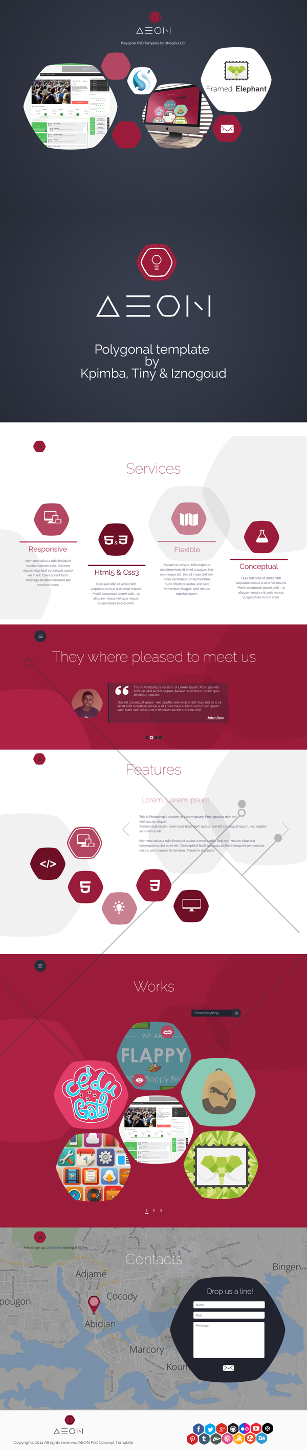 One Page parallax Polygonal Template Via @iznogoud_cr behance.net/iznogoud
