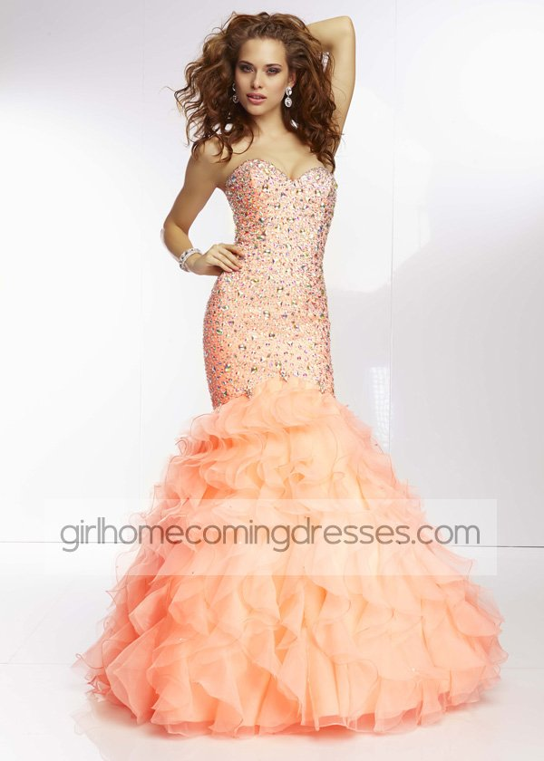 Coral Strapless Rhinestone Beaded Mermaid Style Evening Gown 2014  $239