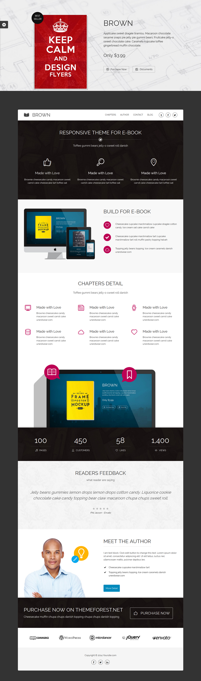 Brown is responsive WordPress theme designed for e-book authors and marketers with everything yo ...