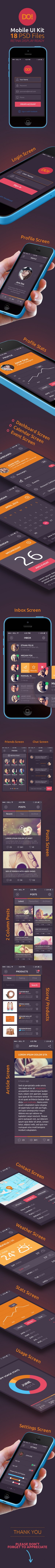 DO! Mobile App UI Kit interface is 19 PSD high resolution, retina display ready, fully shape/vec ...