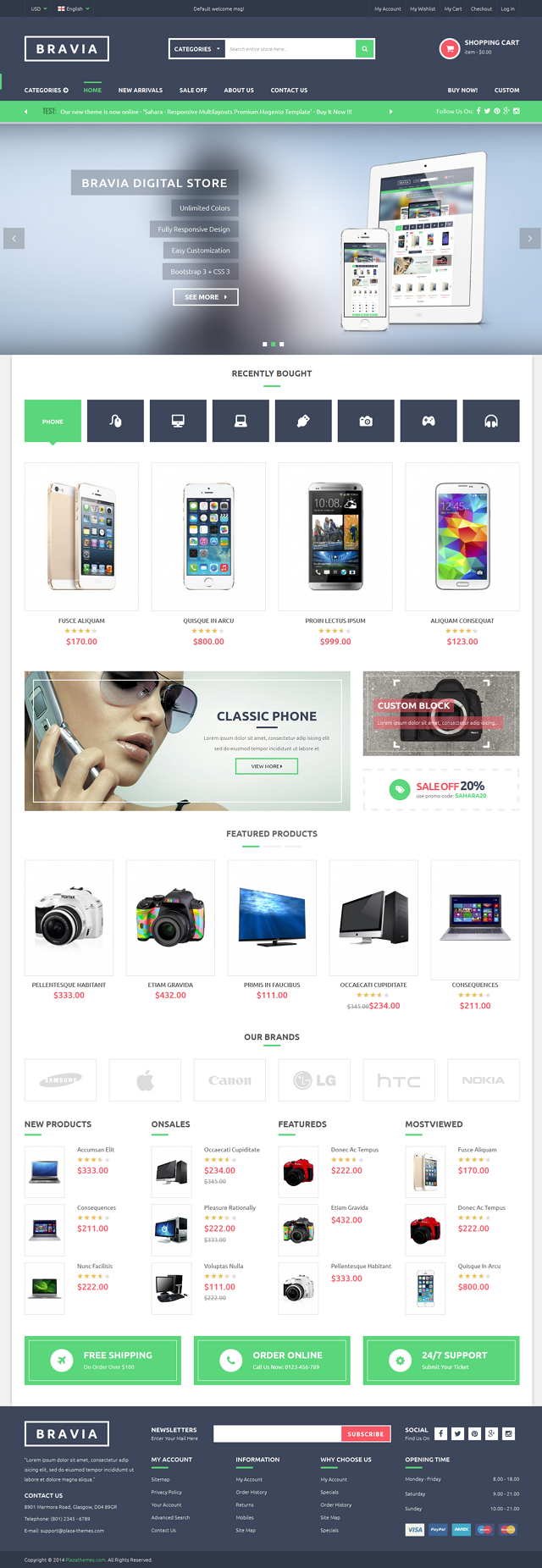 Bravia Magento Theme is good choice for digital store, mobile store, hi-tech shop, electronics s ...