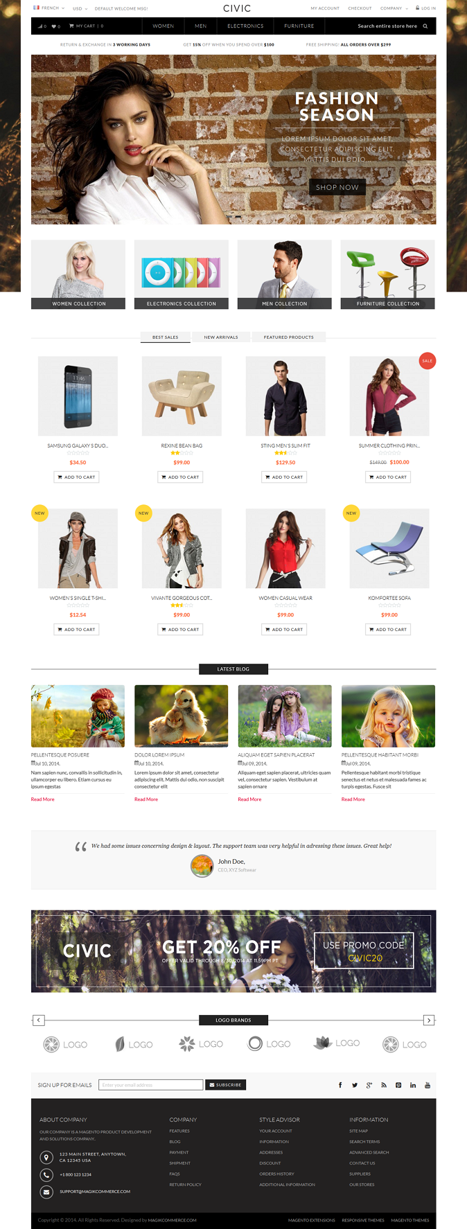 Civic is a responsive multipurpose Magento theme which is fully customizable and suitable for an ...