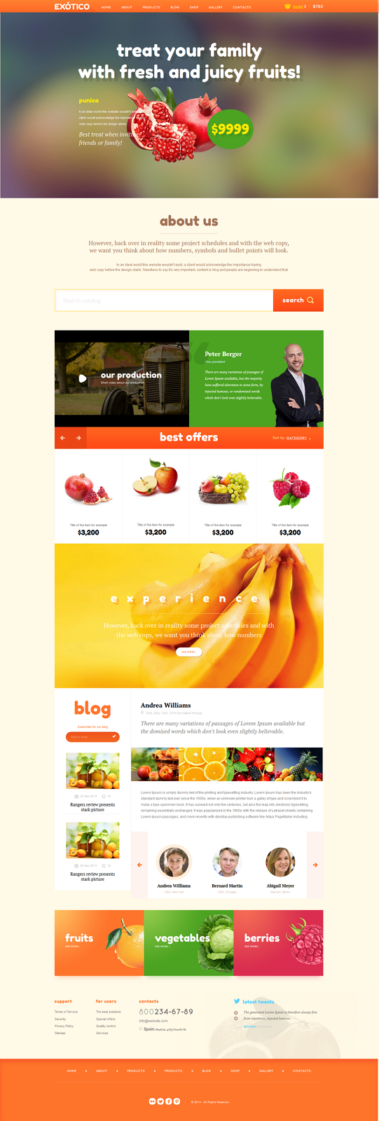 Exotico Responsive HTML Template was designed for agriculture, fruits and vegetables websites an ...