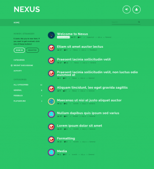 Nexus is a color intense responsive theme for Vanilla forums featuring beautiful CSS animations  ...