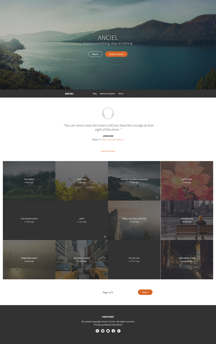 Anciel is an elegant portfolio theme for Ghost. It is targeted towards blogs with beautiful phot ...