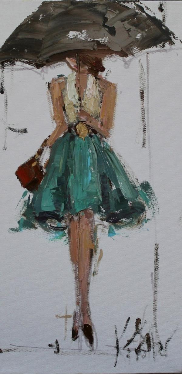 Girl in the rain.   Art that inspires me   Pinterest