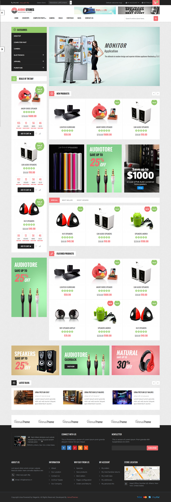 Venus Audio Store is a Responsive Magento Template suitable for any kind of Audio Store, Hightec ...