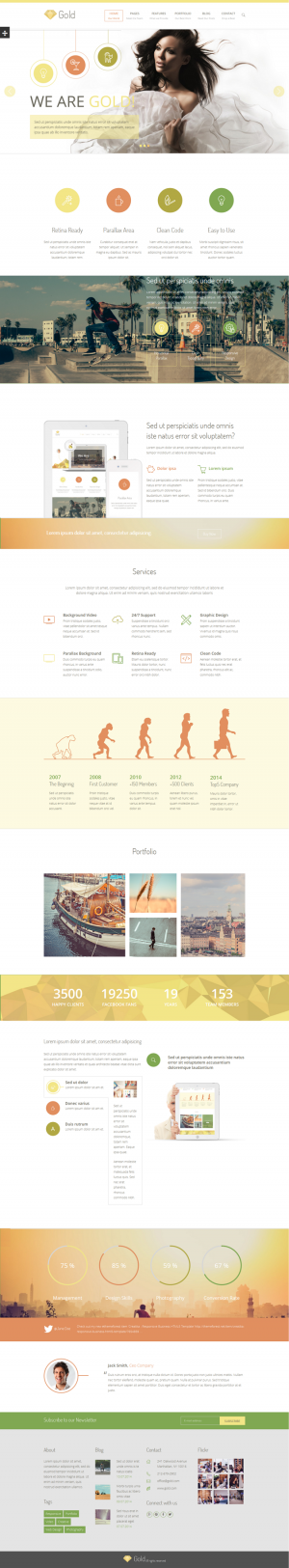 Bold and full of character, Gold is a well-rounded multipurpose HTML template.Gold is well su ...