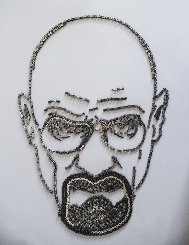 Iconic Poster Cleverly Recreated Using Discarded Bike Parts