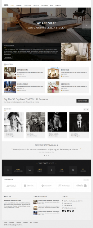 The modern design and strong typography makes Ville the perfect HTML template for any business w ...
