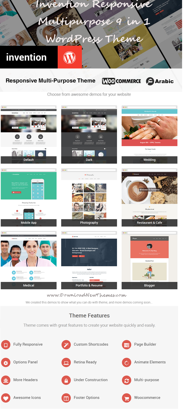 Invention is Responsive Multipurpose WordPress Theme, which have shortcodes, page builder, theme ...