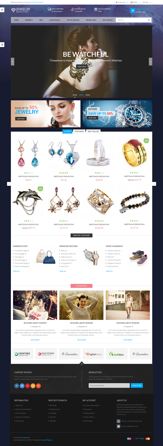 BagsStpre is a Responsive Opencart Template suitable for any kind of Bags Store, Gift Shop, Jewe ...