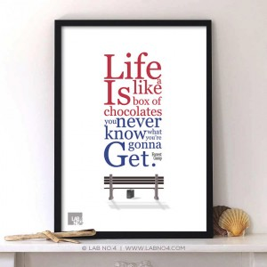 Life is like a box of chocolates by Forrest Gump Inspirational Life quote,Lab No. 4