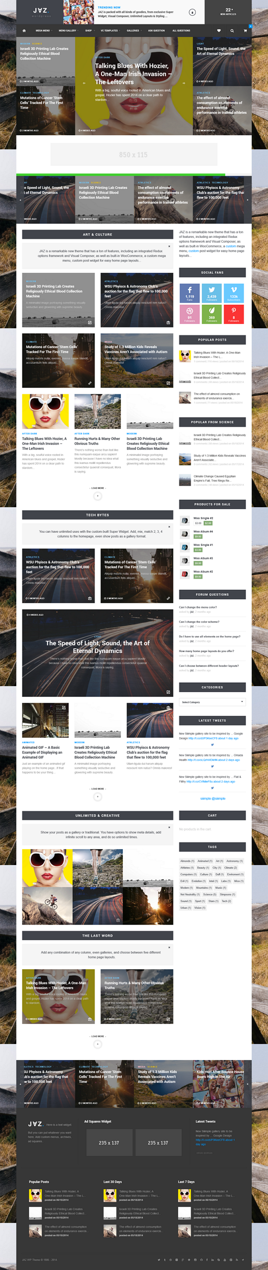 JAZ is a premium, highly configurable WordPress theme. Built on the latest Bootstrap & Redux ...