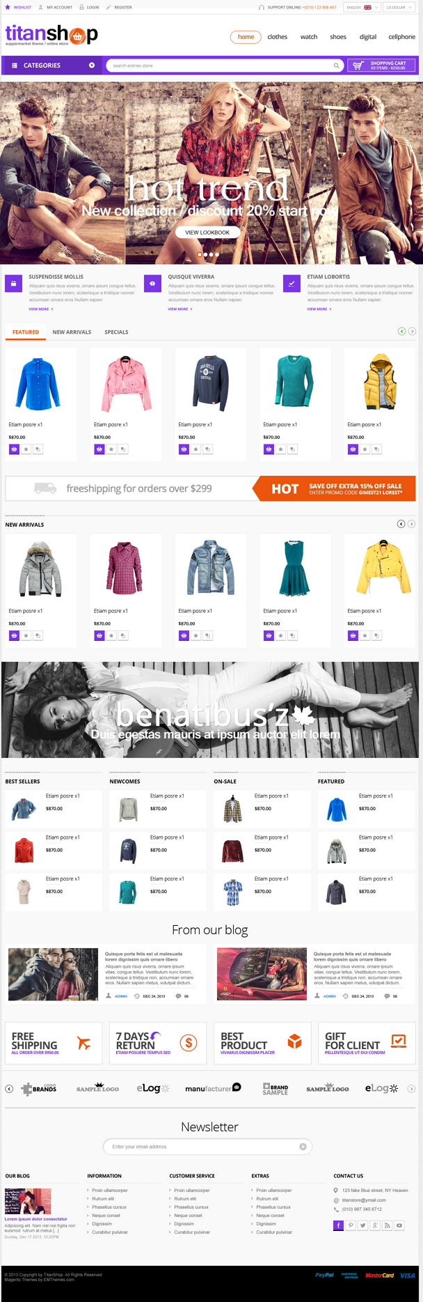 Especially designed to serve for online supermarket businesses, Titanshop theme has a neat and c ...