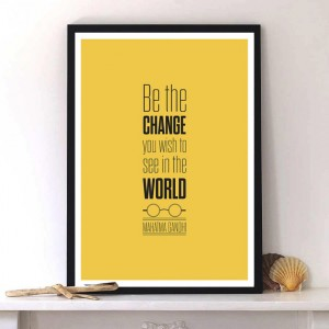 Mahatma Gandhi Quote Motivational print Inspirational by LabNo4
