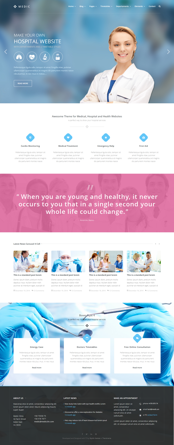 Medic is an HTML template that will help you to make a Medical, Health or Hospital website.   In ...