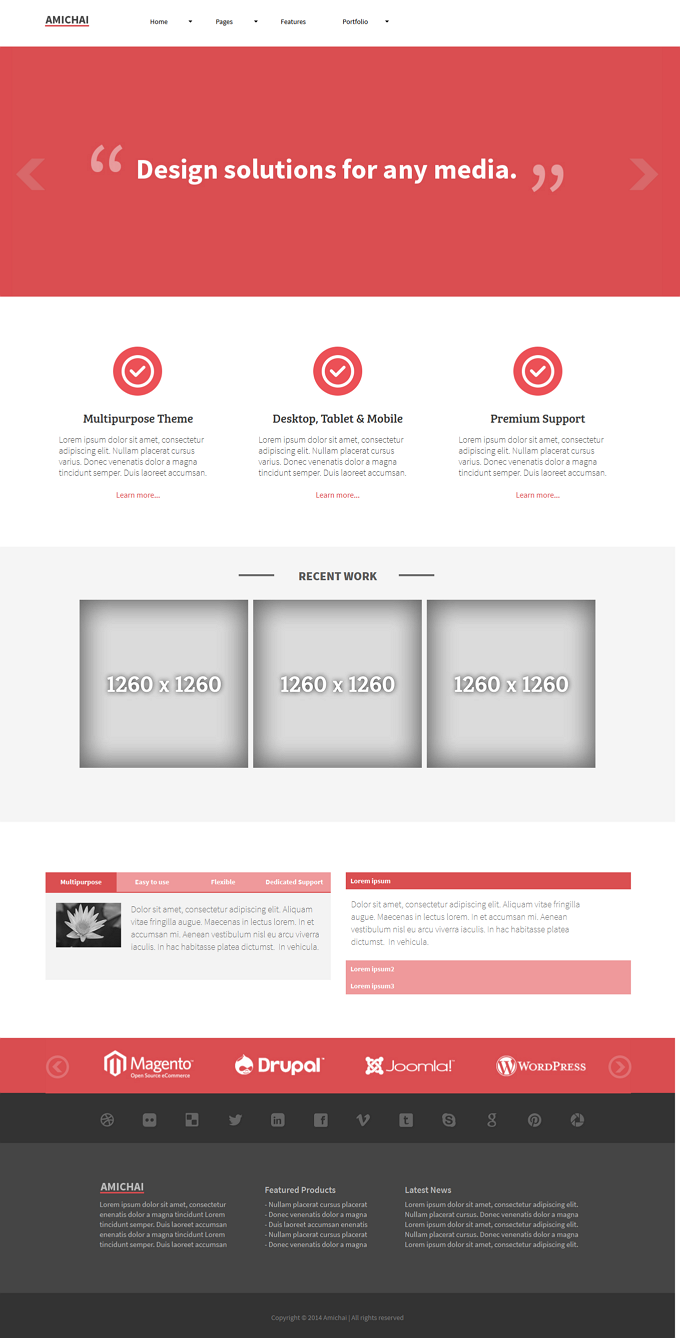 Amichai is a modern, clean & minimalistic, Multipurpose theme designed for Corporate, Agency ...