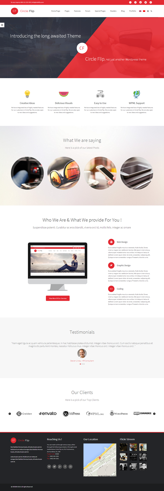 Clrcle Flip is flat, clean, sleek responsive Premium WordPress Theme.Circle Flip is our latest ...