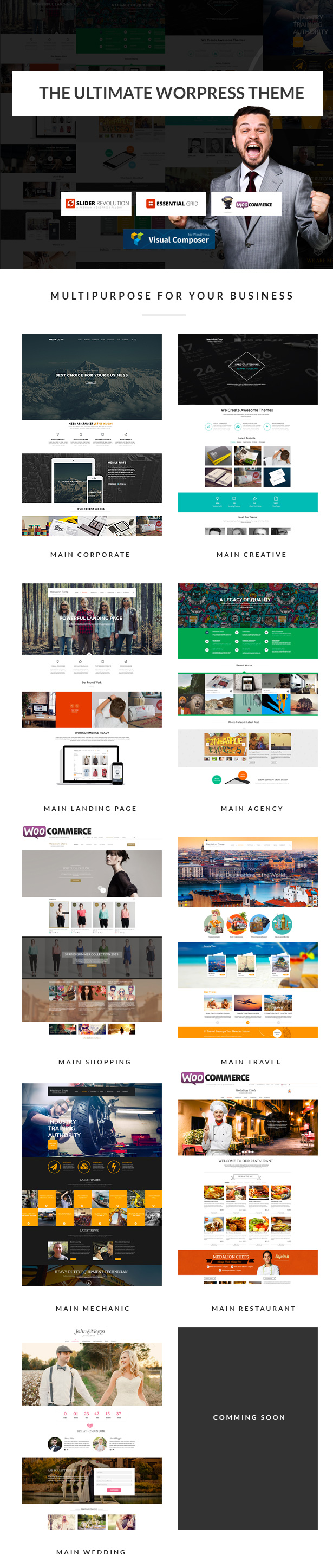 MedaCorp is new multipurpose responsive WordPress Theme. Every section of the site completely cu ...
