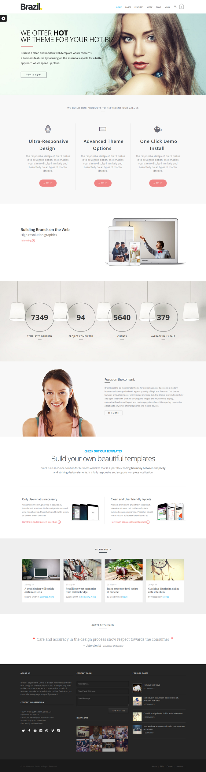 Brazil is a Responsive, Retina-Ready WordPress theme with a minimalist, simple, elegant and clea ...