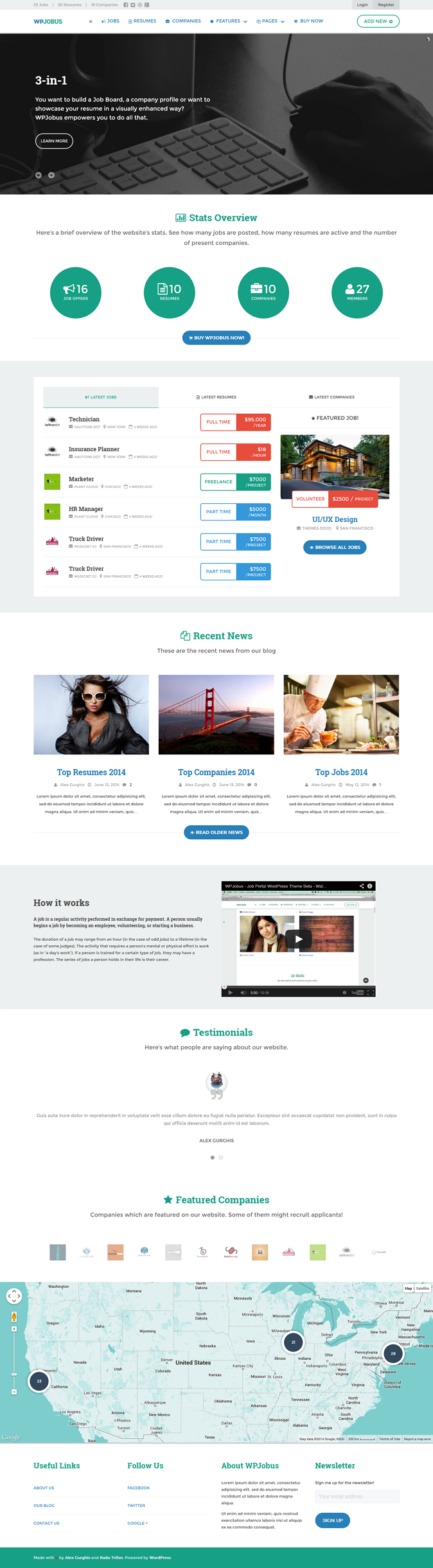 WPJobus is a robust 3-in-1 WordPress Responsive Theme, which you can use as a Job Board / Portal ...