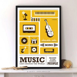 "Music can change the world -Paul David Hewson ""Bono"" Musician Retro by Lab . No4"