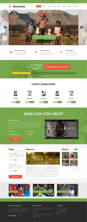 Donation Responsive WordPress Theme developed mainly to setup charity and nonprofit organization ...