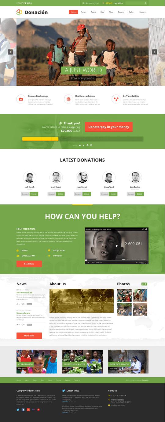 Donation Responsive WordPress Theme developed mainly to setup charity and nonprofit organization ...