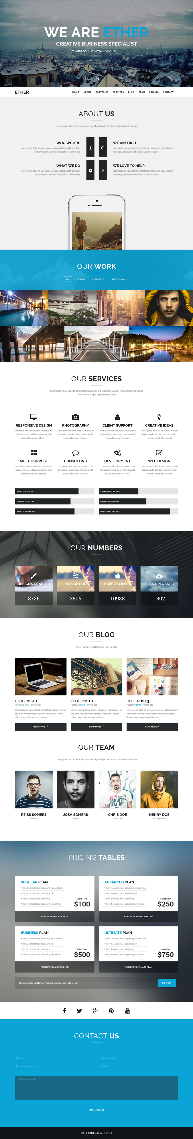 Ether HTML5 Website Template is very strong setup for a business portfolio. It is a high Resolut ...