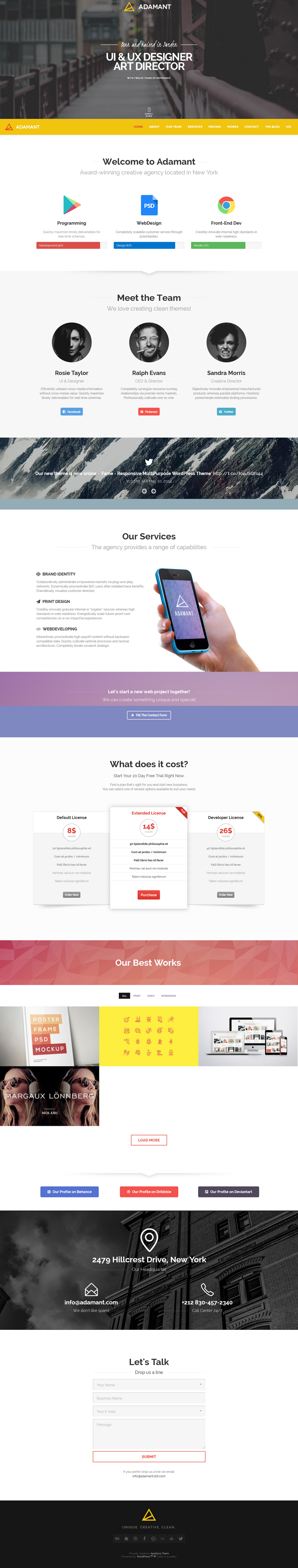 Adamat is Fully Responsive and Retina Ready One-Page Theme for Freelancers, Photographers and Ag ...