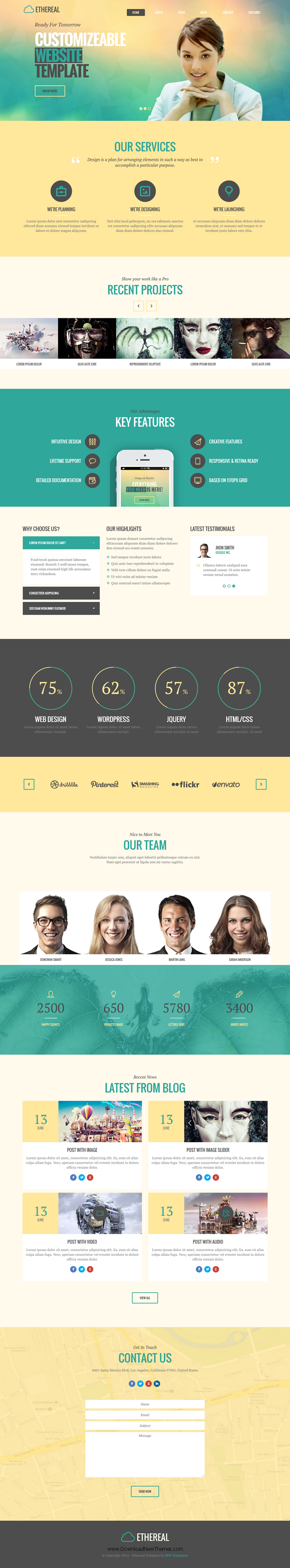 Ethereal is Onepage and Multipage multipurpose Parallax HTML template.   It suits for any type o ...