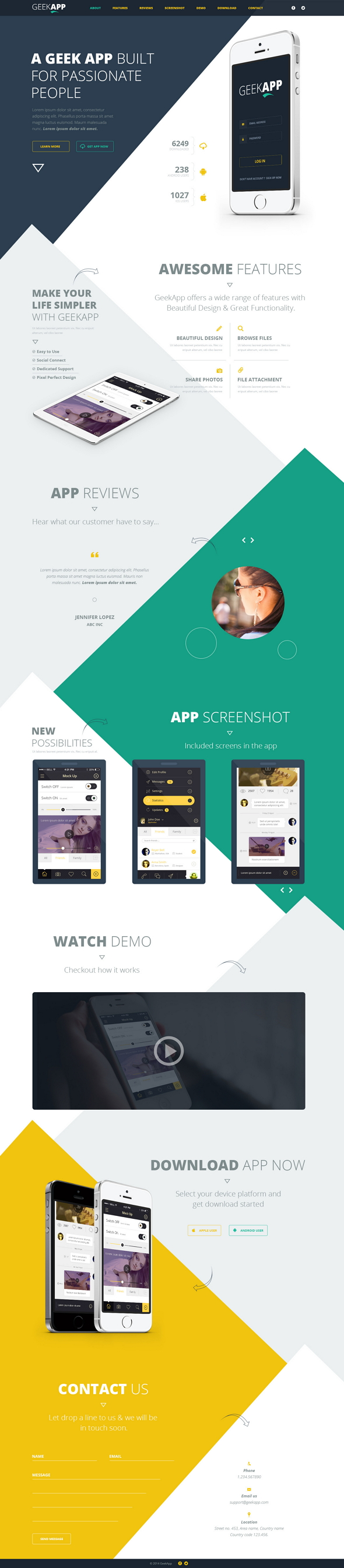 GeekApp is a modern, unique and clean Single Page PSD template suitable for mobile, iPad App web ...