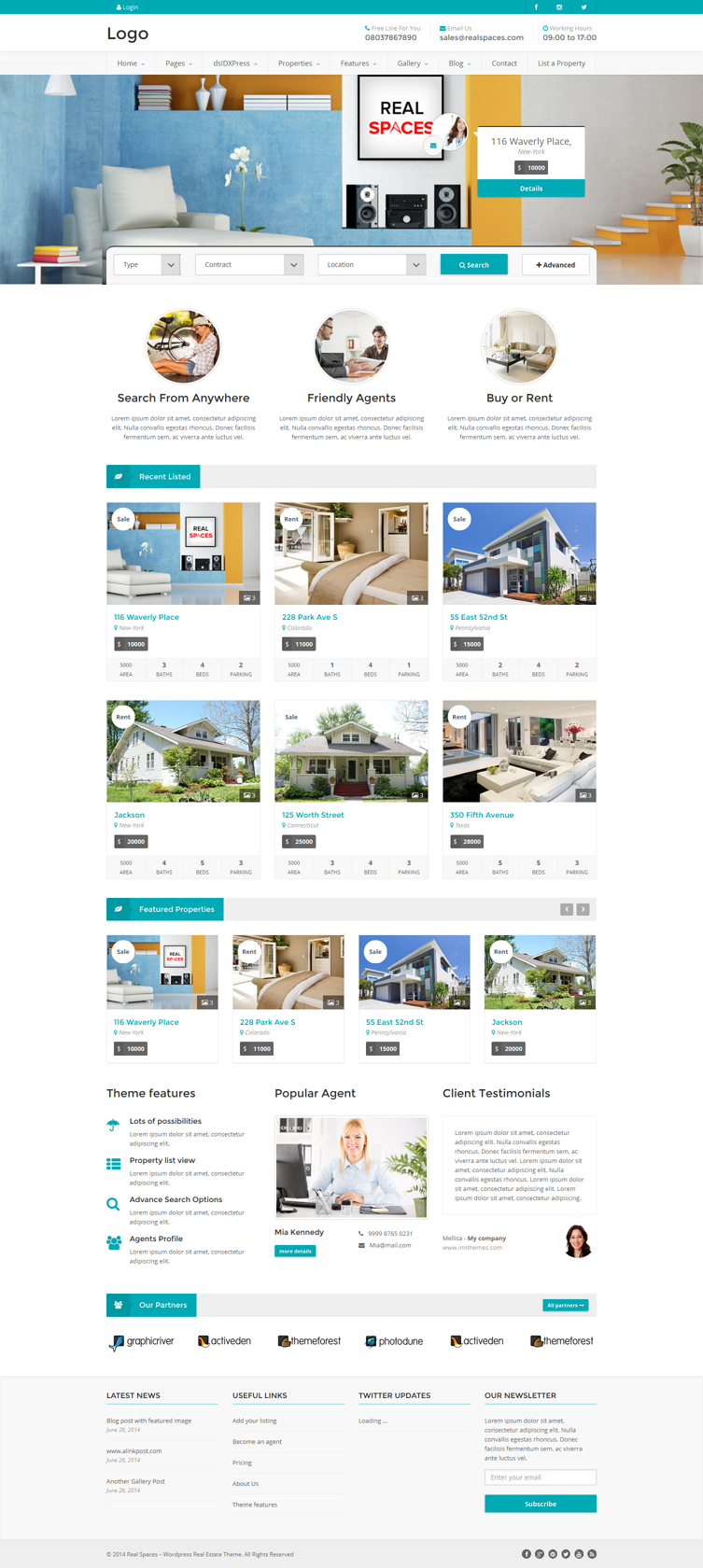 #website #design #realestate #template Real Spaces – WordPress Real Estate Theme – & ...