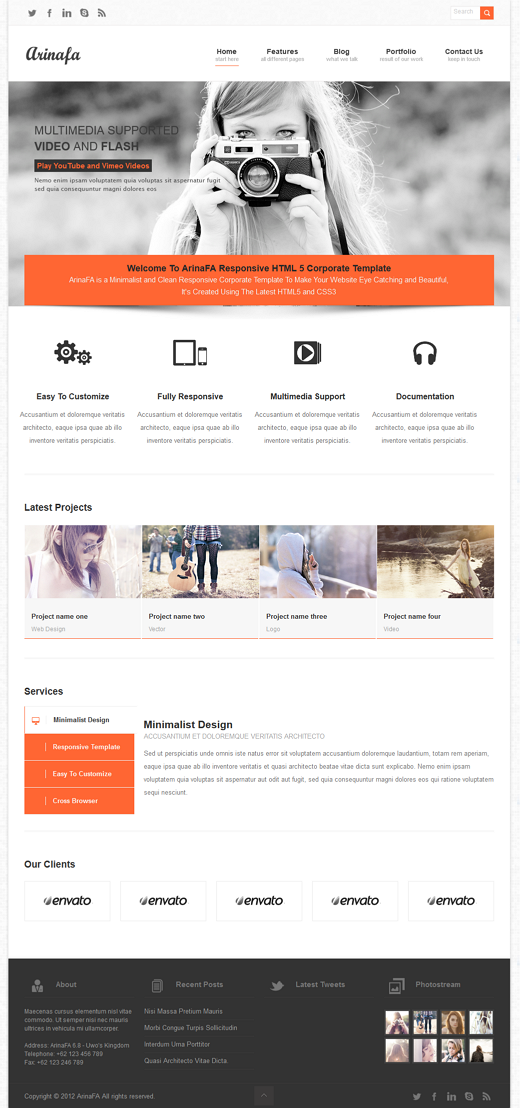 ArinaFA Responsive WordPress Corporate Template is a Responsive, HTML5/CSS3 theme that features  ...