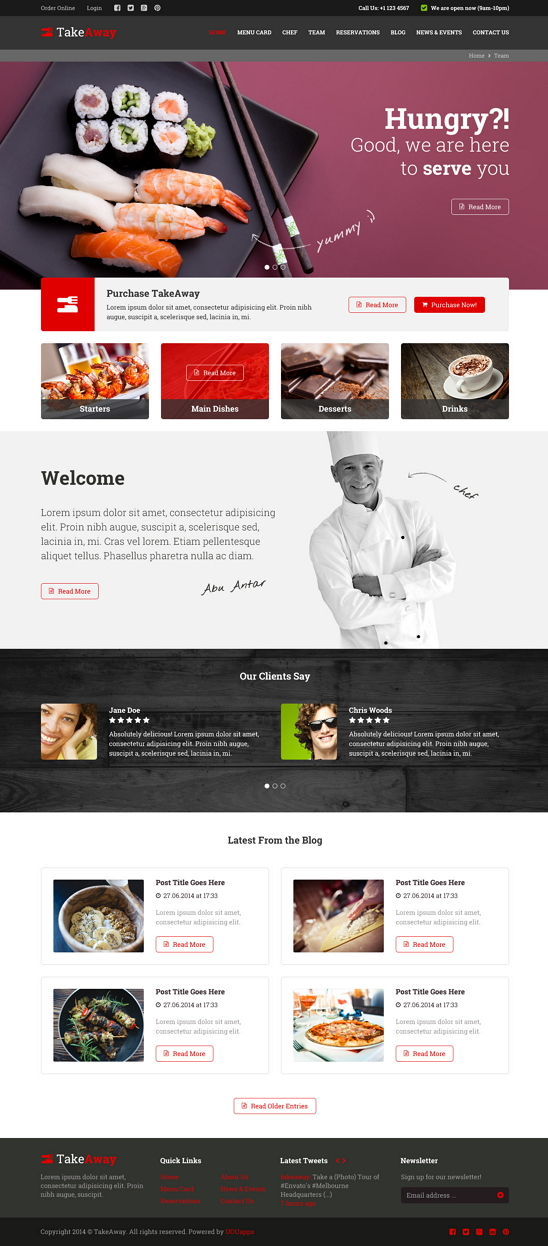 TakeAway is a template for those, who want to start their online foody delivery business. We pre ...